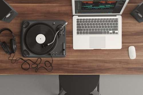 Laptop Mix Vinyl Player Free Photo