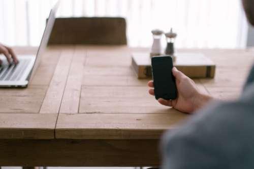 Wood Desk iPhone Laptop Office Free Photo