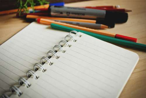 Open Notebook Pens Pencils Free Photo