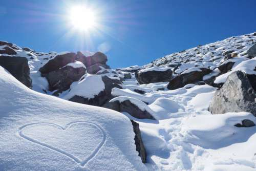Love Heart Snow Mountains Free Photo