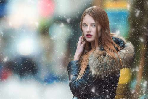Woman Model Coat Snow Free Photo