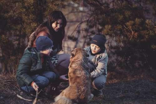 Family Woman Children Dog Free Photo
