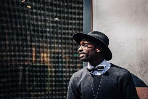Man Hat Bowtie Glasses Free Photo