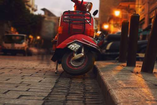 Red Moped Retro Free Photo