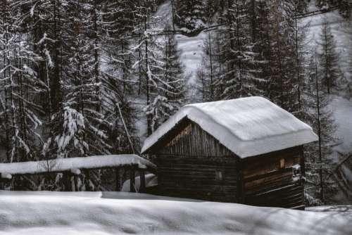 Hut Cabin Snow Forest Winter Free Photo