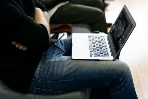 Man Jeans Laptop Office Work Free Photo