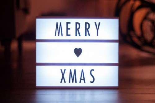 Merry Xmas Light Sign Heart Free Photo