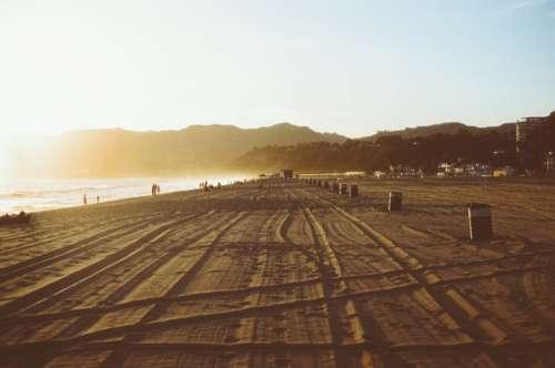 Sunset Beach Tracks Free Photo