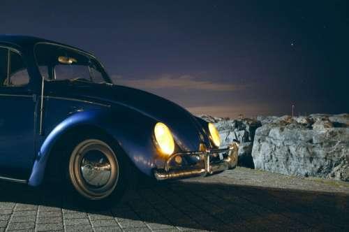VW Beetle Lights Blue Free Photo
