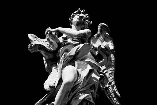 Statue Black White Angel Free Photo