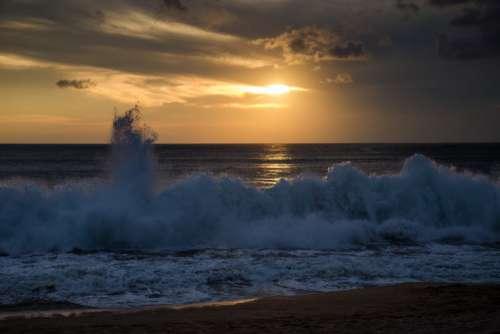Sea Shore Beach Clouds Evening Dusk Free Photo