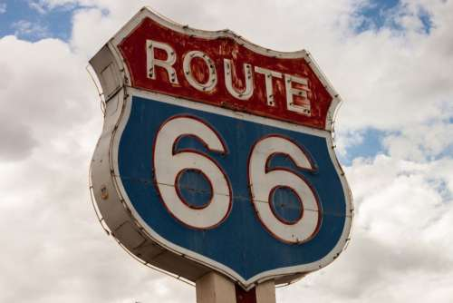 Route 66 Road Sign Neon Free Photo