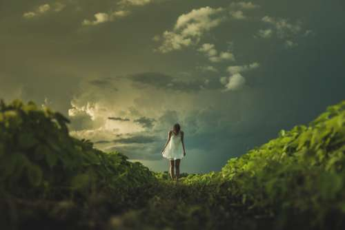 Woman White Dress Field Clouds Free Photo