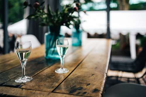 Glass White Wine Wood Table Free Photo