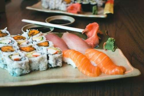 Fresh Sushi Yam California Rolls Free Photo