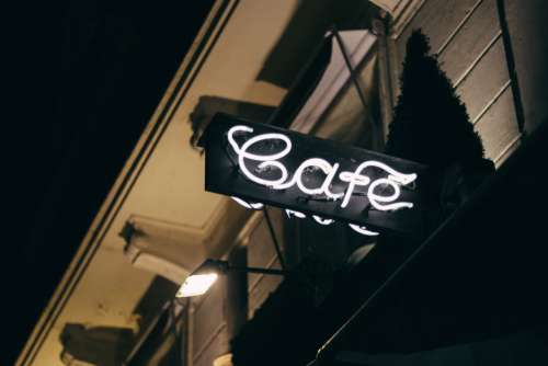 Cafe Neon Sign Night Free Photo