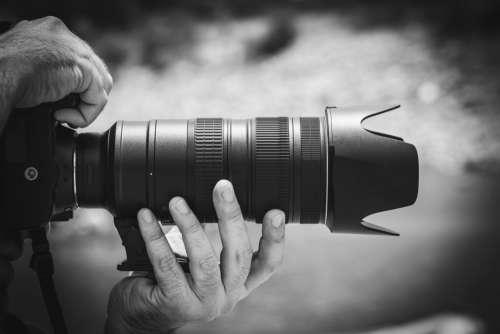 Black White Camera Lens Man Free Photo