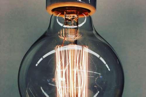 Closeup Vintage Lightbulb Idea Free Photo