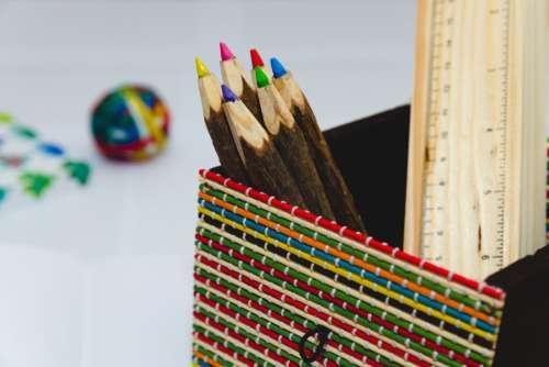 Color Pencils Ruler Desk Free Photo