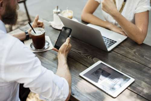 Desk MacBook Mobile Man Woman Free Photo