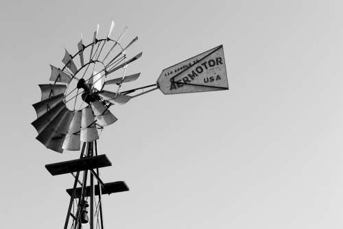 Black White Windmill Sign Wind Free Photo