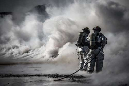 Fire Fighters Smoke Hose Free Photo