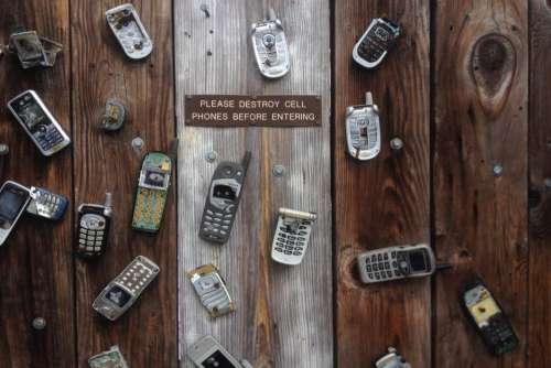 Old Mobile Phone Broken Wood Free Photo