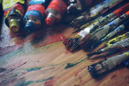 Paint Brushes Oil Wood Table Free Photo