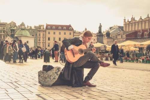 Man Street Musician Guitar City Free Photo