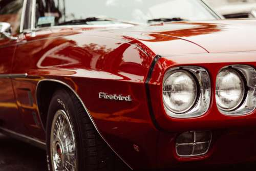 Classic Red Firebird Free Photo