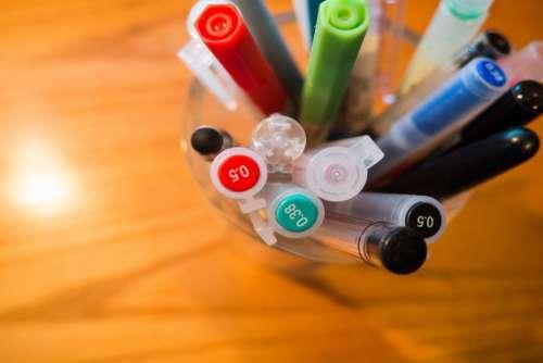 Collection Pen Color Wood Desk Free Photo