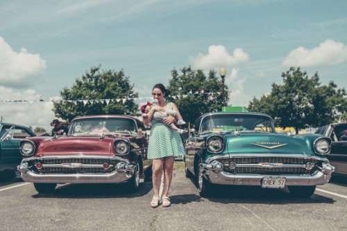 Mother Child Classic Car Free Photo
