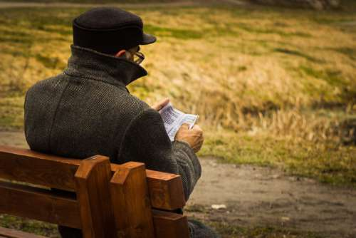 Old Man Reading Book Park Bench Free Photo