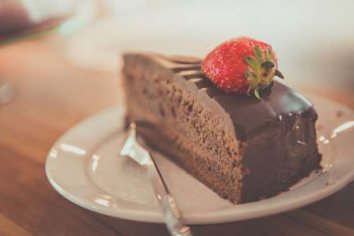 Chocolate Cake Strawberry Fruit Free Photo