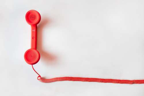 Red Retro Telephone Minimal Free Photo