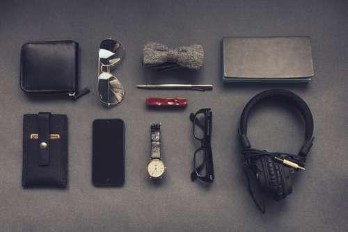 Wallet Headphones Watch Glasses Free Photo