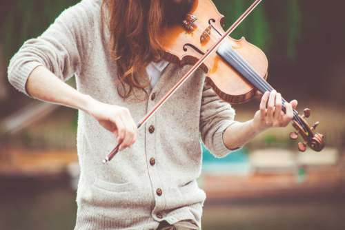 Woman Playing Violin Free Photo