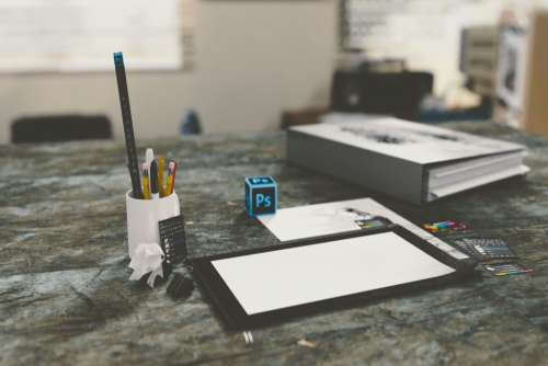 Desk Photoshop Pencils Paper Free Photo