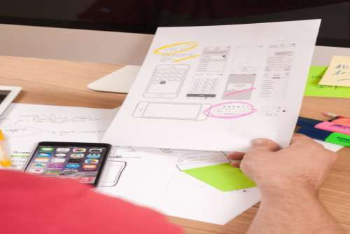 iPhone and Paper Wireframes Free Photo