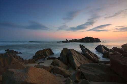 Rocks Beach Sunset Free Photo