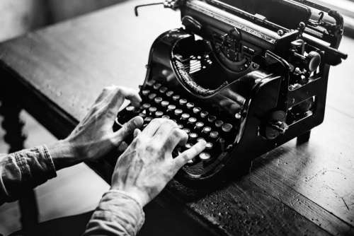 Typing Vintage Typewriter B&W Free Photo