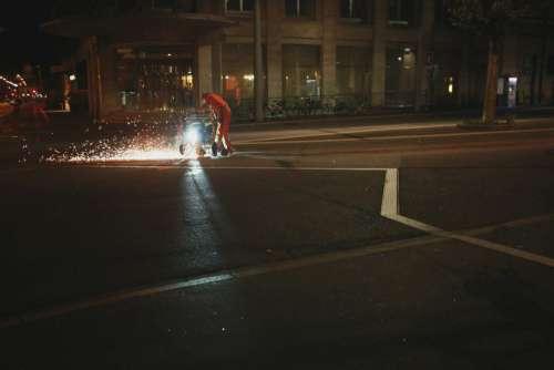 Working Street Night Free Photo