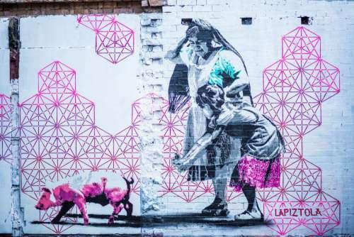 Pink Graffiti Wall Woman Child Free Photo