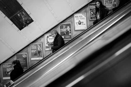 Descending Escalator Black White Free Photo