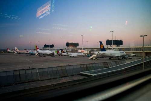 Airport Plan Sunset Free Photo