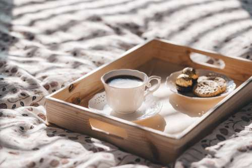 Coffee and Cookies on Tray Free Photo