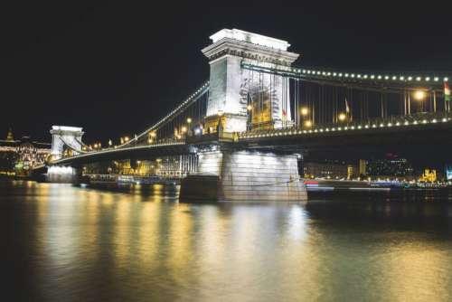 Bridge at Night Free Photo