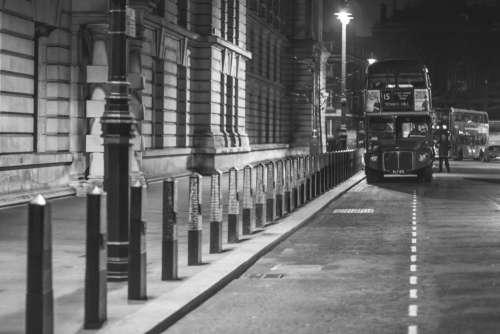 Black and White Vintage London Bus Free Photo