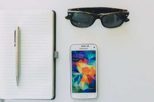 Sunglasses, Notepad and Android Free Photo