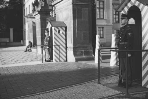 Soldiers Standing Guard in Prague Free Photo